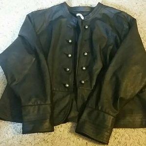 Fashion BugFaux leather plus size 1x black blazer.